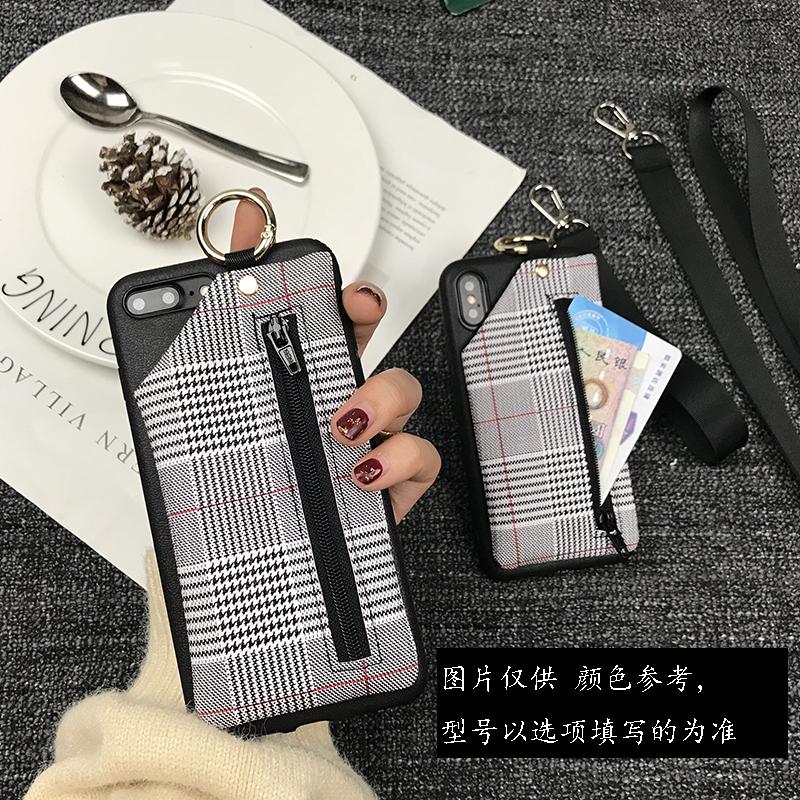格子零钱包oppoR17手机壳创意R15挂绳支架r11sp防摔硅胶套A59软壳限6000张券