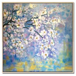 纯手绘《漫步春天之一》手绘<span class=H>油画</span>花卉客厅餐厅有框中式简约装饰画