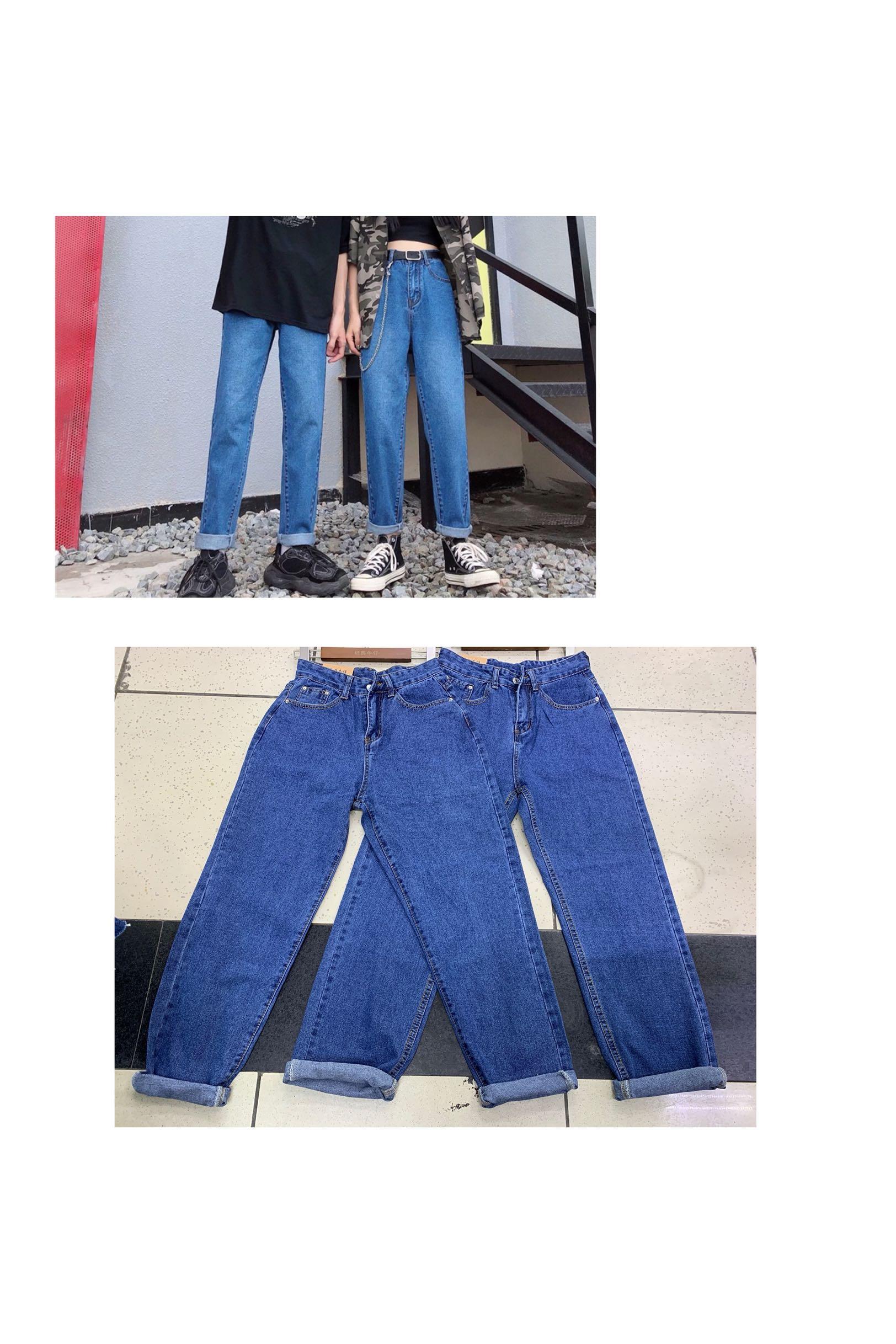 新款情侣款牛仔裤ins复古水洗蓝bf直筒长裤男女同款现货广州速发