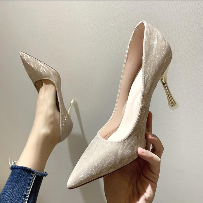 名媛气质高跟鞋仙气网红细跟学生少女性感尖头5cm银色伴娘鞋婚鞋