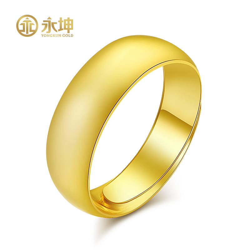 Yongkun gold light plate Tianyuan ring 24K full gold smooth ring for men and women 999 live ring