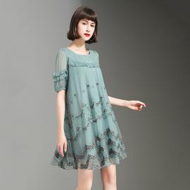 2020夏装新款网纱绣花大摆裙拼接A字娃娃款中长款韩版蕾丝连衣裙图片