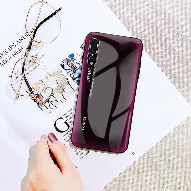 红硕 华为p20pro手机壳玻璃渐变色p20保护套全包防摔挂绳硬壳p20 pro男女潮款个性创意p20外壳卡通