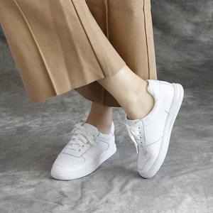 2020春夏款女鞋真皮小白鞋单鞋牛皮休闲鞋运动学院风系带白色板鞋