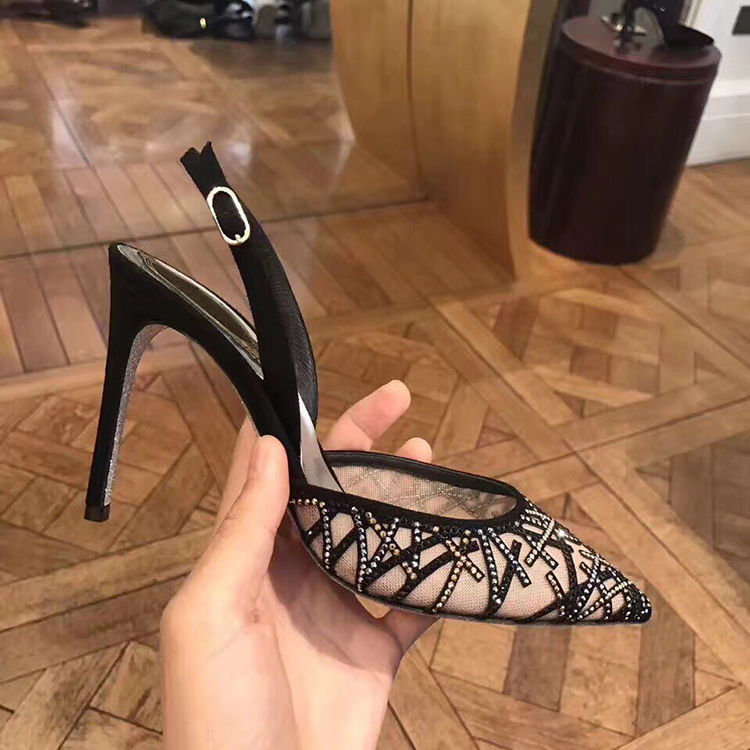 2018 new summer sexy Rhinestone pointed high heels womens thin heel lace Baotou sandals womens Mid Heel banquet shoes