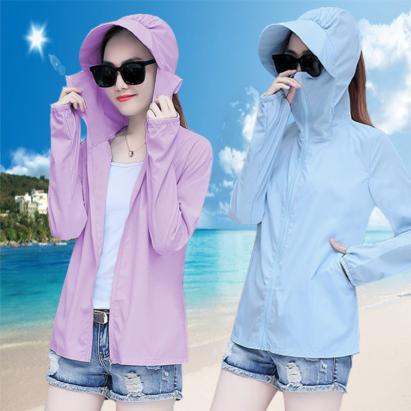 夏2018新款沙滩防晒衣女短款防紫外线超薄透气户外骑车防晒衫外套