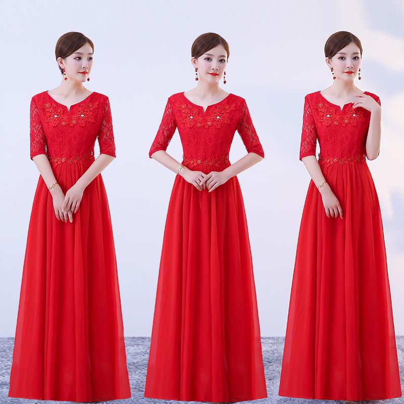 新款合唱服长裙成人大合唱团体演出服女中老年指挥主持人舞台服装