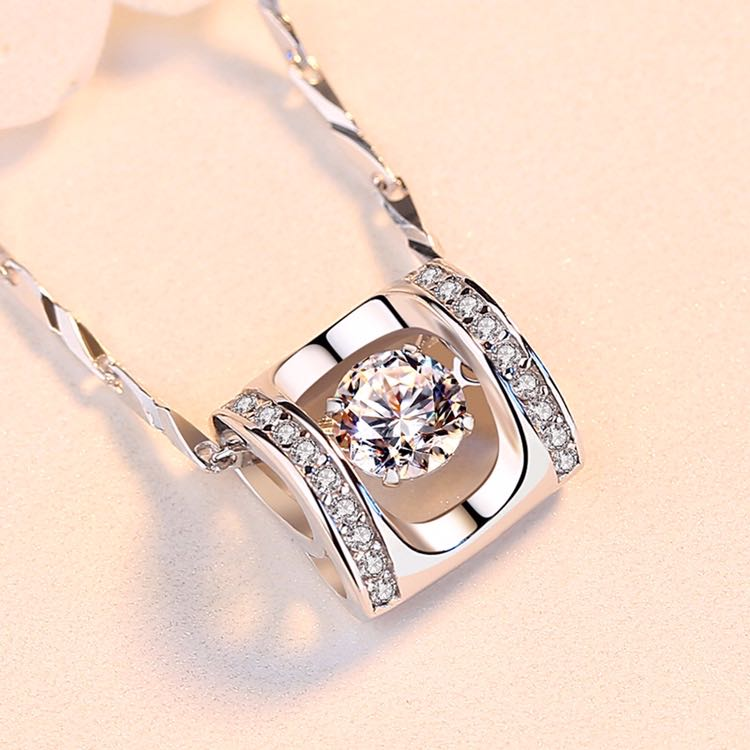 Zuoyin 999 pure silver beating heart necklace clavicle chain smart Angel Pendant lovers present to girlfriend