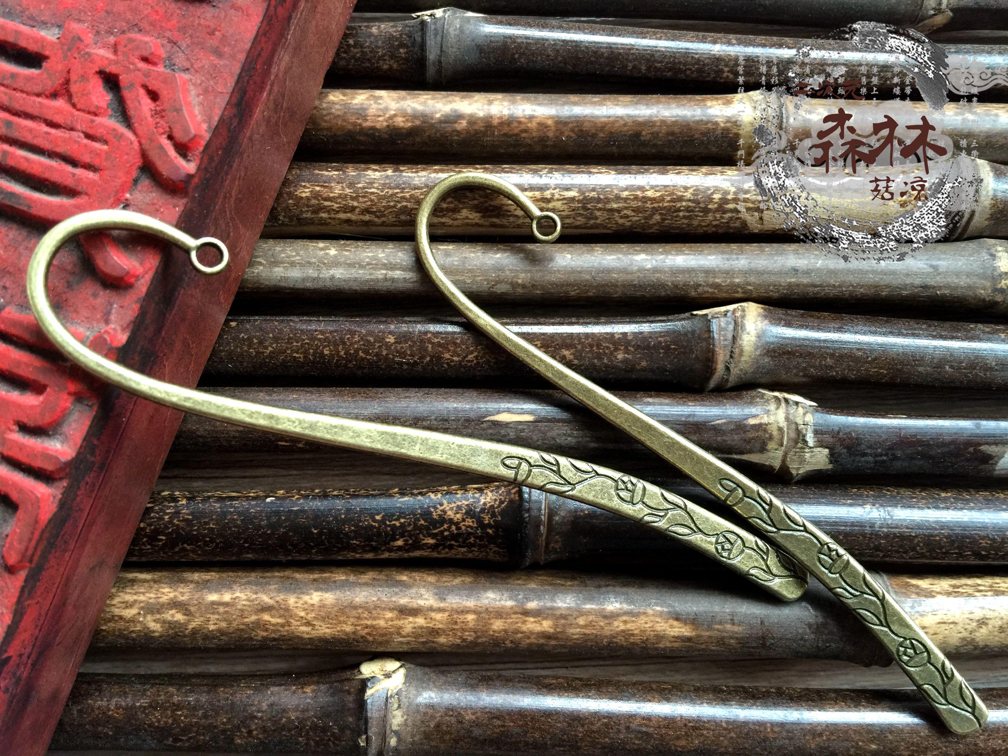 DIY古风饰品材料 古风宫花发簪 铜色合金花纹书签/发簪 带孔CB008