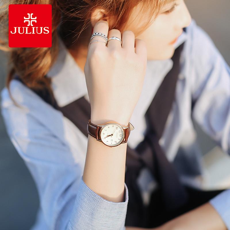 聚利时女表复古韩版简约时尚潮流防水女士手表学生皮带日历石英表