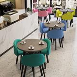 创意奶茶甜品小吃店铺桌椅组合一桌三椅洽谈接待会客谈判双层圆桌