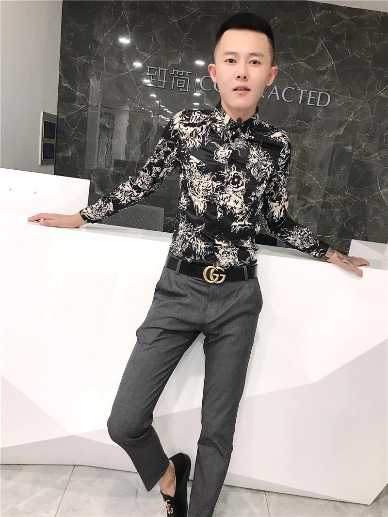 社会精神小伙韩版修身衬衣快手红人同款秋季痞帅发型师长袖衬衫男图片