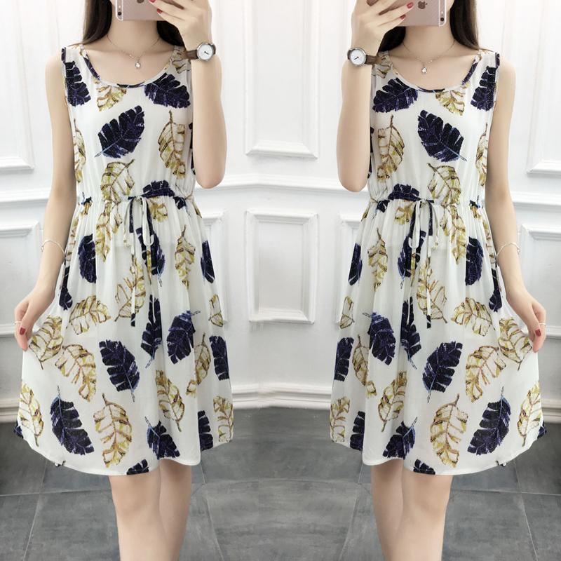 夏季女款可爱韩版无袖睡裙新款宽松大码人造棉砍袖孕妇连衣裙棉绸