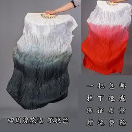 红昭愿扇子锦鲤抄舞蹈扇子左手指月古典舞水墨扇黑白渐变长绸稠扇图片