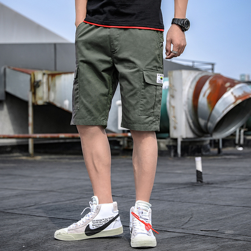Trendy brand hot summer new mens casual Capris pure cotton washing tooling shorts mens middle pants loose