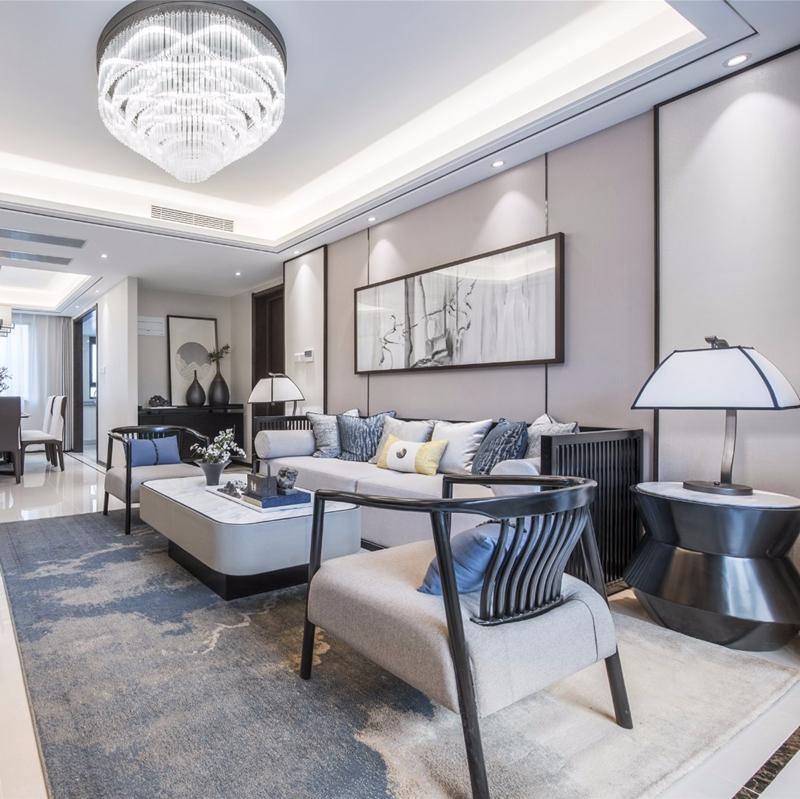 限8000张券新中式客厅简约酒店会所茶楼大沙发