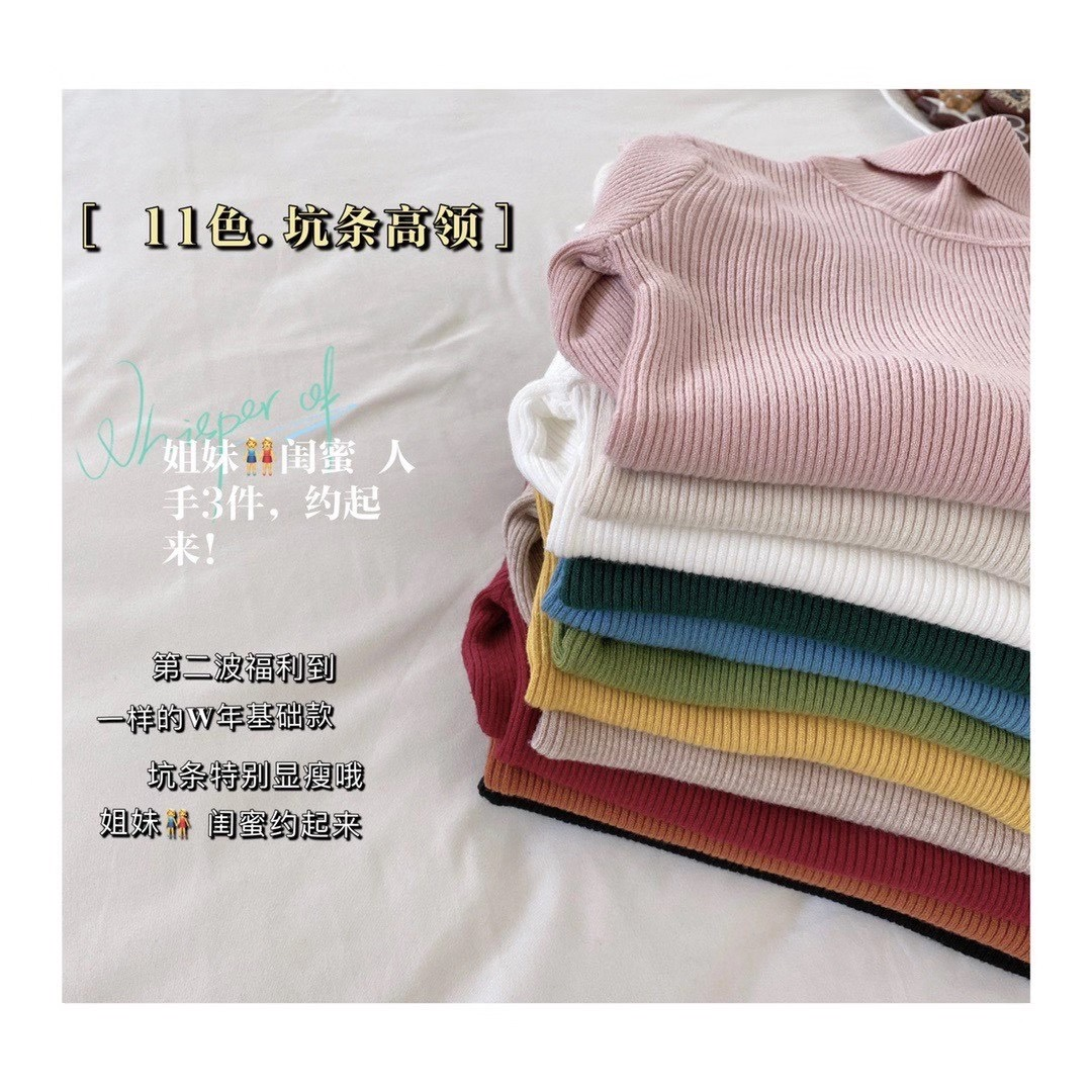 2020 new autumn / winter high neck extra large elastic high neck 11 color knitted bottoming shirt looks slim and slim