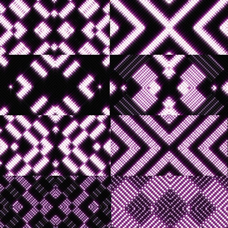 14つの紫色のレトロなネオンの陣LEDシームレスな循環舞台のアニメーションの背景のビデオの素材VJLOOP
