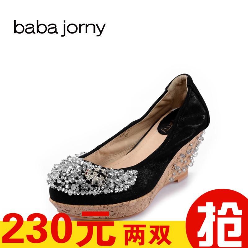 巴巴娇妮工厂店清仓断码处理女鞋布纹羊皮坡跟澳钻珠串浅口女单鞋