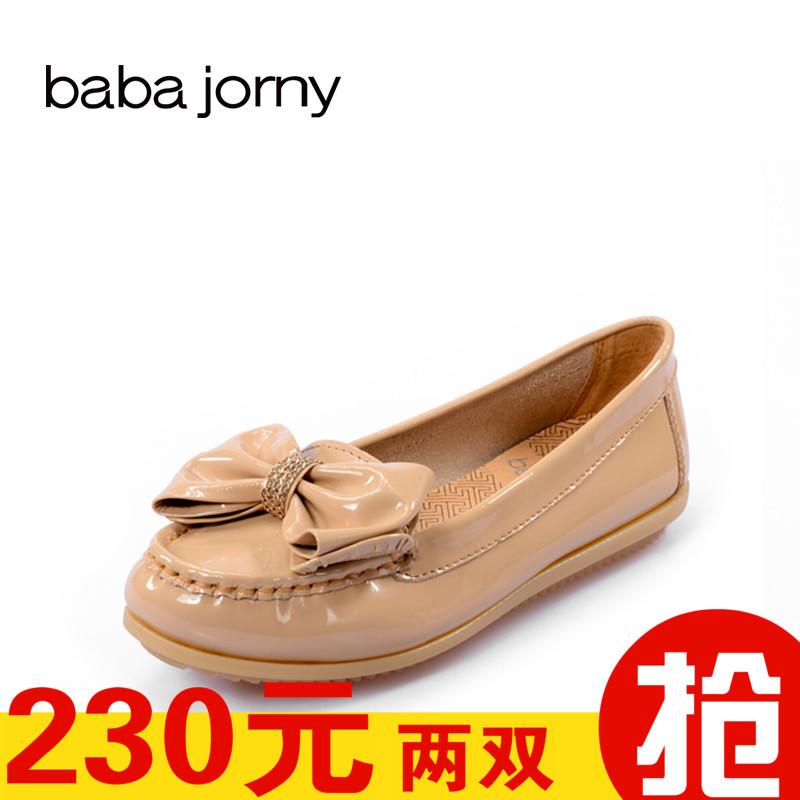 巴巴娇妮工厂店清仓断码处理女鞋水钻蝴蝶结女鞋漆皮圆头平跟单鞋