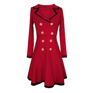 大碼紅色禮服女簡單大方連衣裙mm胖妹妹新娘回門便裝春秋平時可穿