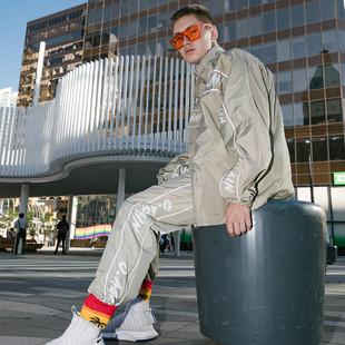 街舞嘻哈運動套裝夾克男hiphop女束腳長褲bboy衝鋒外套練舞演出服