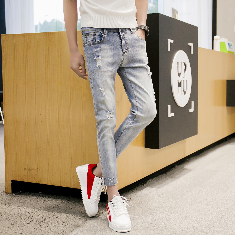 八分裤牛仔裤男潮牌百搭 修身小脚韩版裤男k185p65