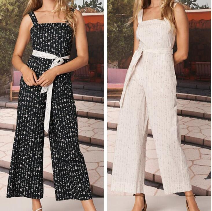 Swallows buy dvftvf new cotton wide leg Jumpsuit with sleeve less black and white small print