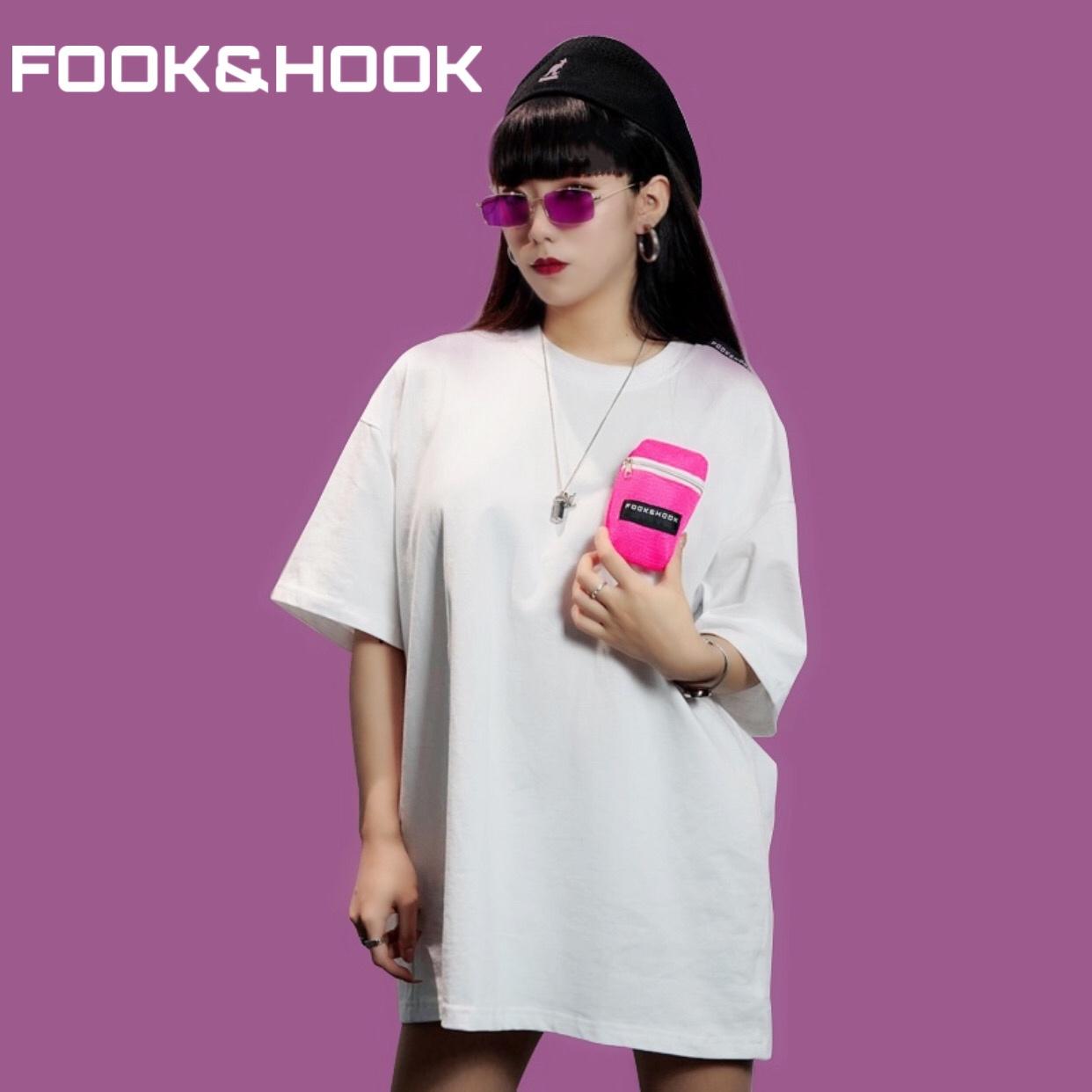 【FH】FOOK&HOOK国朝オリジナルデザイナーブランド胸ポケット半袖Tシャツ男女を自由に交換してください。