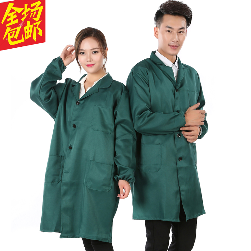 Blue coat work clothes custom logo long sleeve carrying dust proof clothes printing labor protection advertisement coat covert food clothes