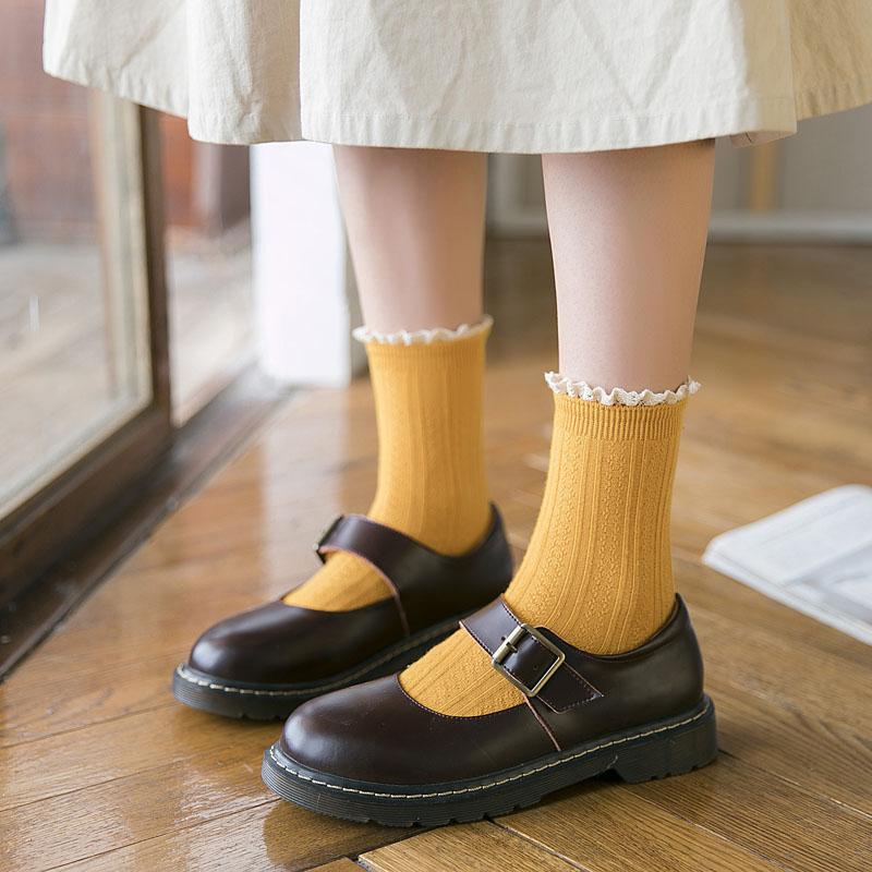 花边洛丽塔袜子女纯棉中筒袜潮韩国日系韩版可爱学院公主风堆堆袜