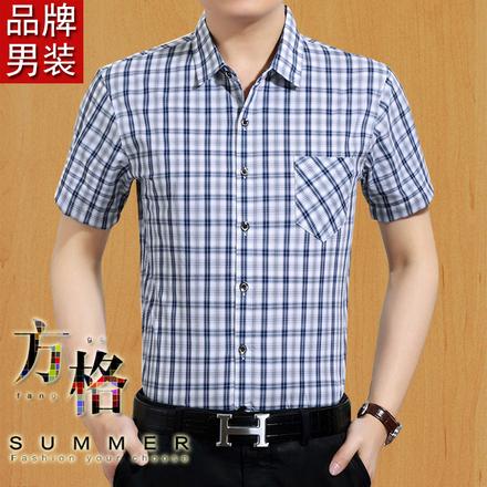 2018夏季衬衫男短袖中年男士宽松大码纯棉格子衬衣中老年半袖薄款