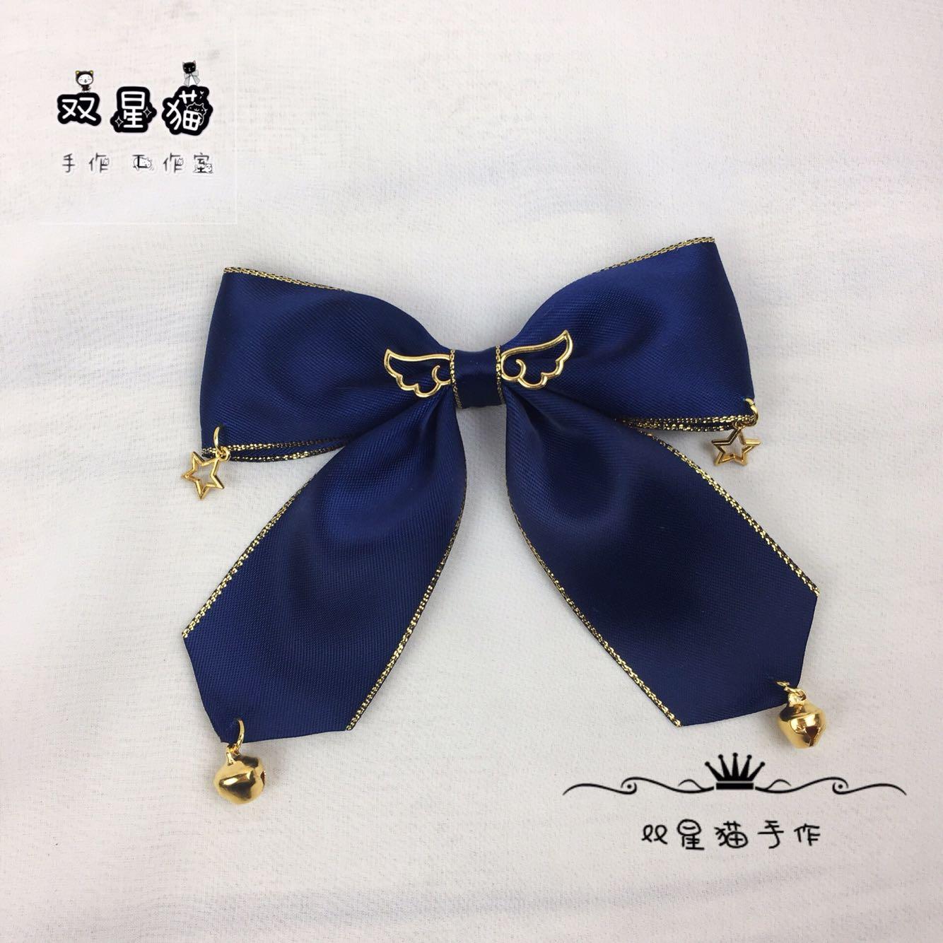 バッグはDIYの髪飾りをします。ロレッタの手作りのリボンは鈴と星の髪飾りを結んで、ネクタイは予約して色を変えられます。