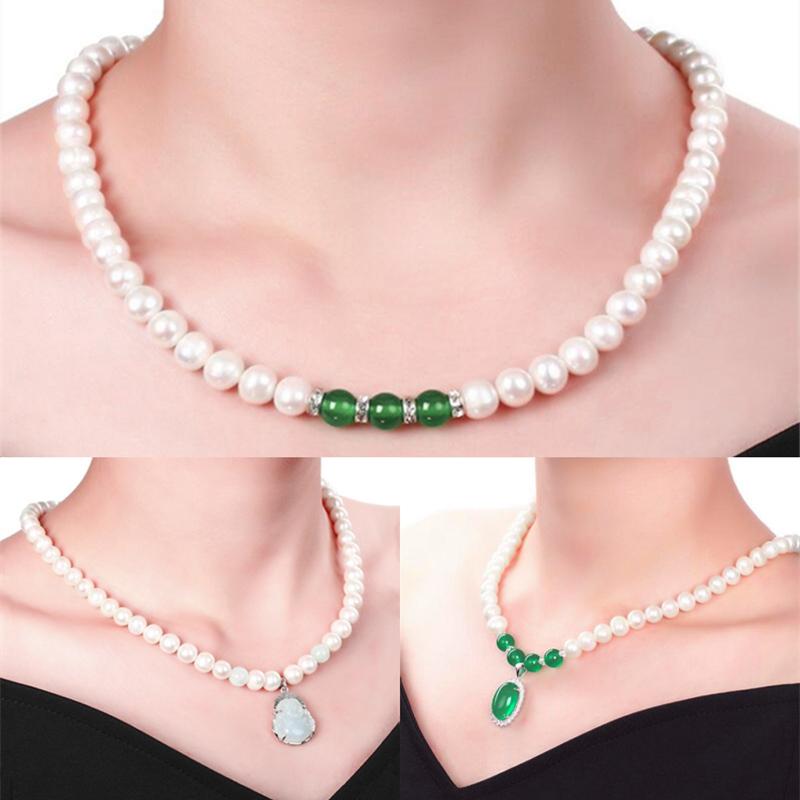 天然珍珠项链女款绿玉髓玛瑙吊坠翡翠玉送妈妈婆婆生日礼物母亲节