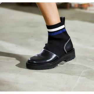 时尚袜子靴弹力靴季短靴女春秋2018新款马丁靴英伦风粗跟真皮上新
