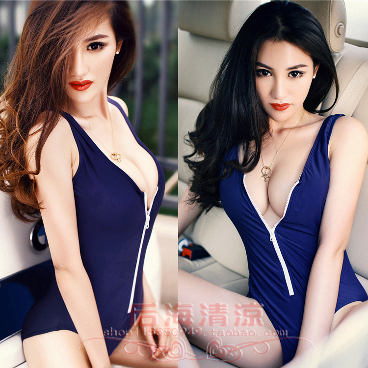 New zipper triangle one-piece swimsuit sexy womens clothing gathered to show thin, covering the belly and waist, Sexy Secret Swimsuit