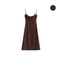 法式小众复古少女夏季新款黑色小野玫瑰碎花 显瘦高腰吊带连衣裙