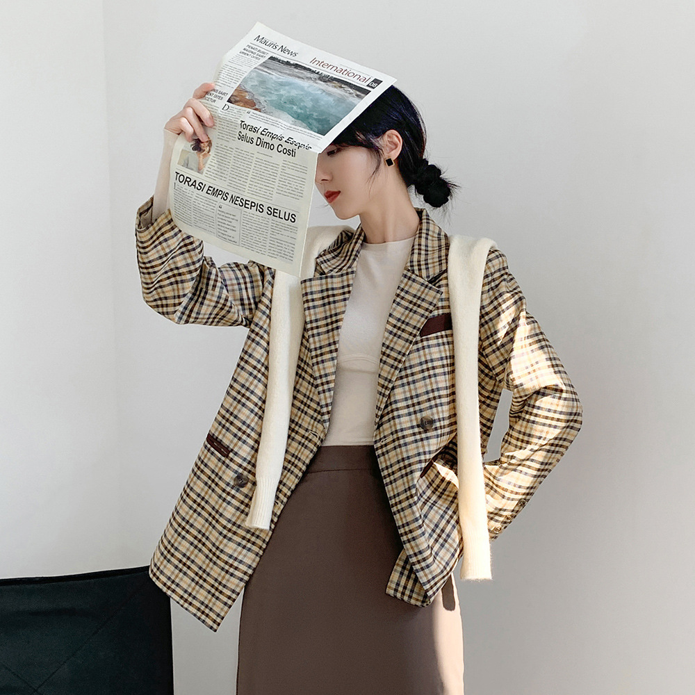 New style simple retro Plaid double breasted long sleeve loose casual suit jacket for women X140