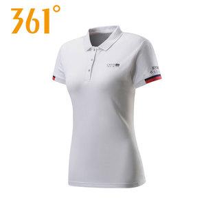 361度短袖T恤女2018夏季新款正品翻领半袖361上衣运动服女装短T女