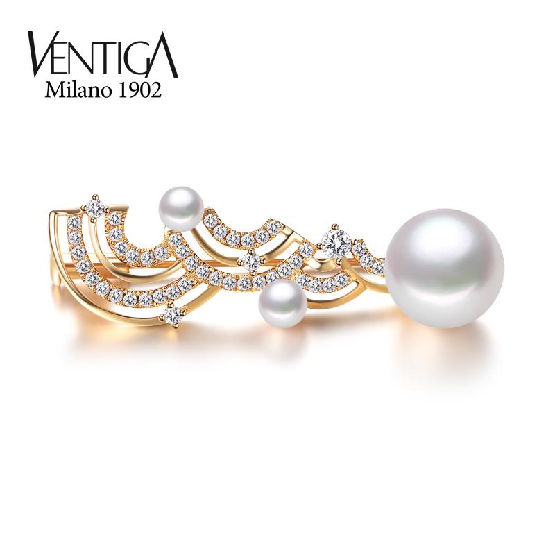 VENTIGA/梵蒂加18k白金天然海水珍珠胸针胸花女 高档百搭配镶钻石