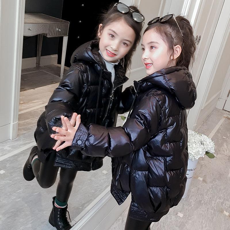 冬款中大童女童拉链衫韩版冬季黑色连帽女秋圆领纯色羽绒棉服外套