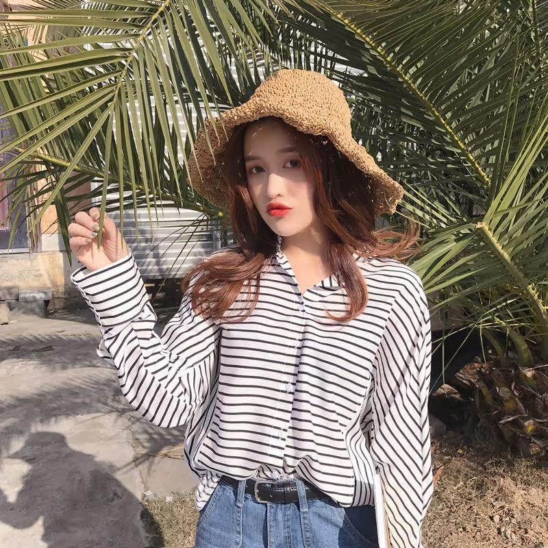 夏装20118新款女装韩版学院风条纹长袖衬衫女宽松百搭休闲衬衣