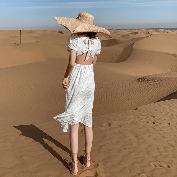 TS45391#超仙初恋小白裙新款泡泡袖连衣裙女夏气质法式甜美裙子