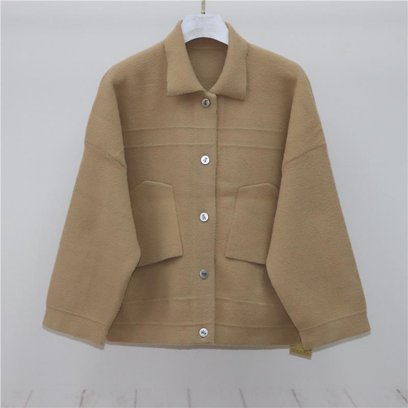 果果定制 水貂绒精品时尚纯色单排扣外套 女 8055