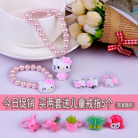 Ребенок KT кот ожерелье браслет серьги кольцо установите девушка ювелирные изделия статья ребенок роз цветок, бутон клипса ухо