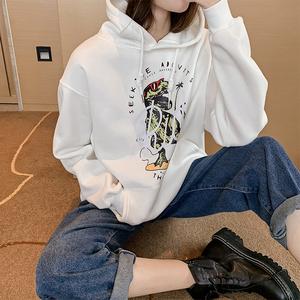 連帽衛衣女2019新款韓版學生寬松bf風中長款上衣chic加絨加厚外套