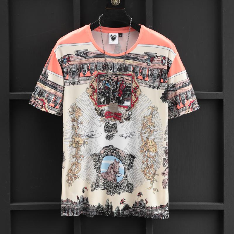 欧洲站潮流小衫巴洛克男短袖t恤10月19日最新优惠