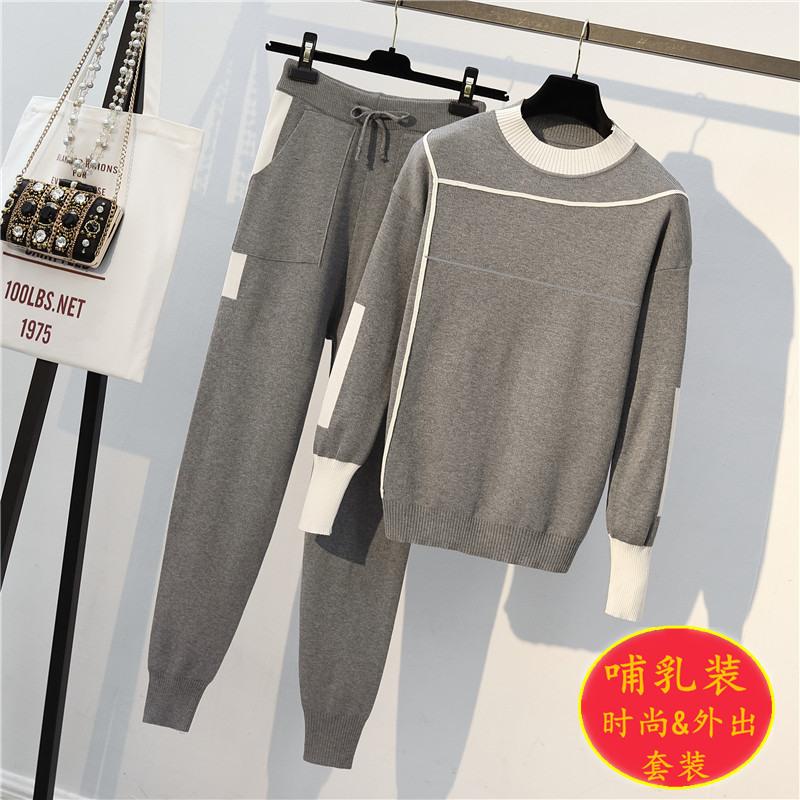 哺乳衣套装秋冬时尚针织毛衣休闲两件套产后浦乳期外出宽松喂奶衣