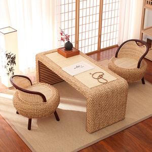家用民俗禅意藤编茶几桌椅组合榻榻米茶几飘窗桌茶几日式地桌炕桌