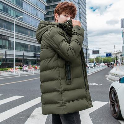 2018冬季新款男士中长款棉衣帅气连帽棉服潮 9588 P100 M-4XL